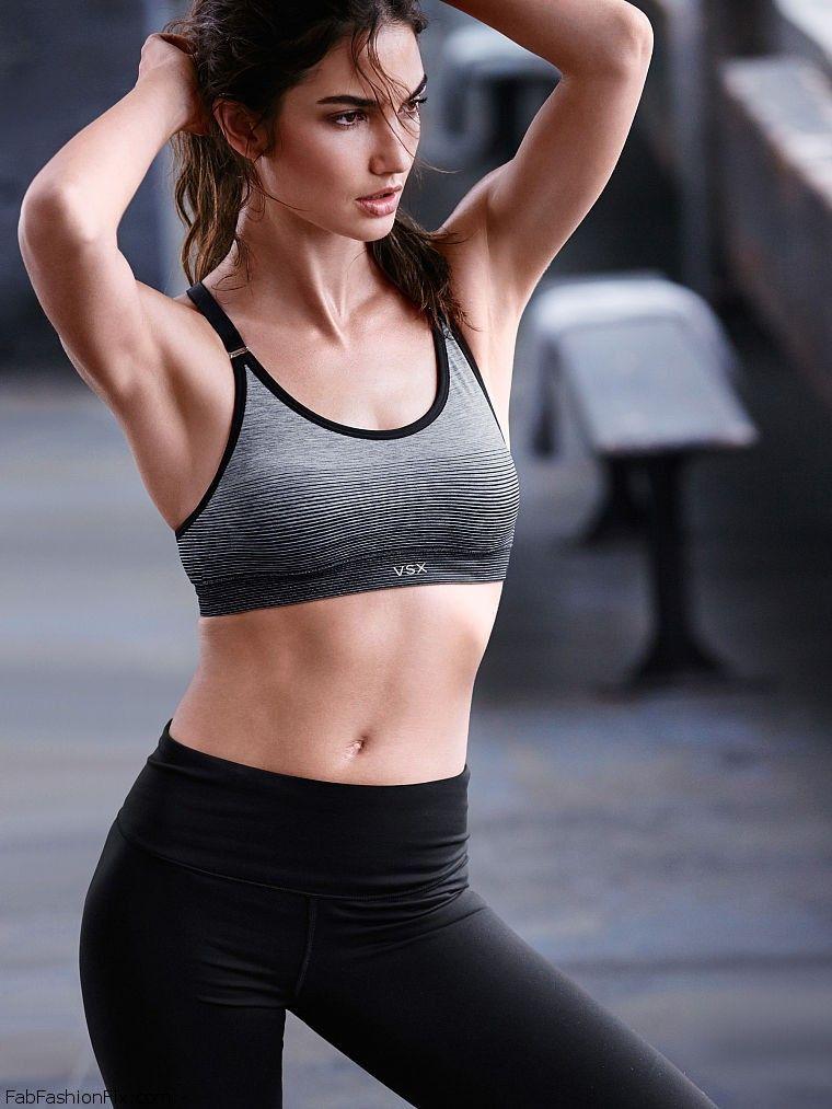 Lily Aldridge shows her athletic physique for Victorias Secret VSX collection  Fab Fashion Fix