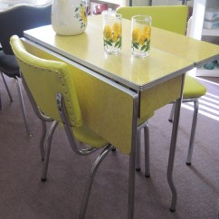 1950 S Yellow Formica Table And Chairs Hair Salon Chair 1950s Cracked Ice