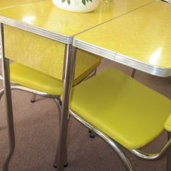 1950 S Yellow Formica Table And Chairs Expensive High 1950s Cracked Ice