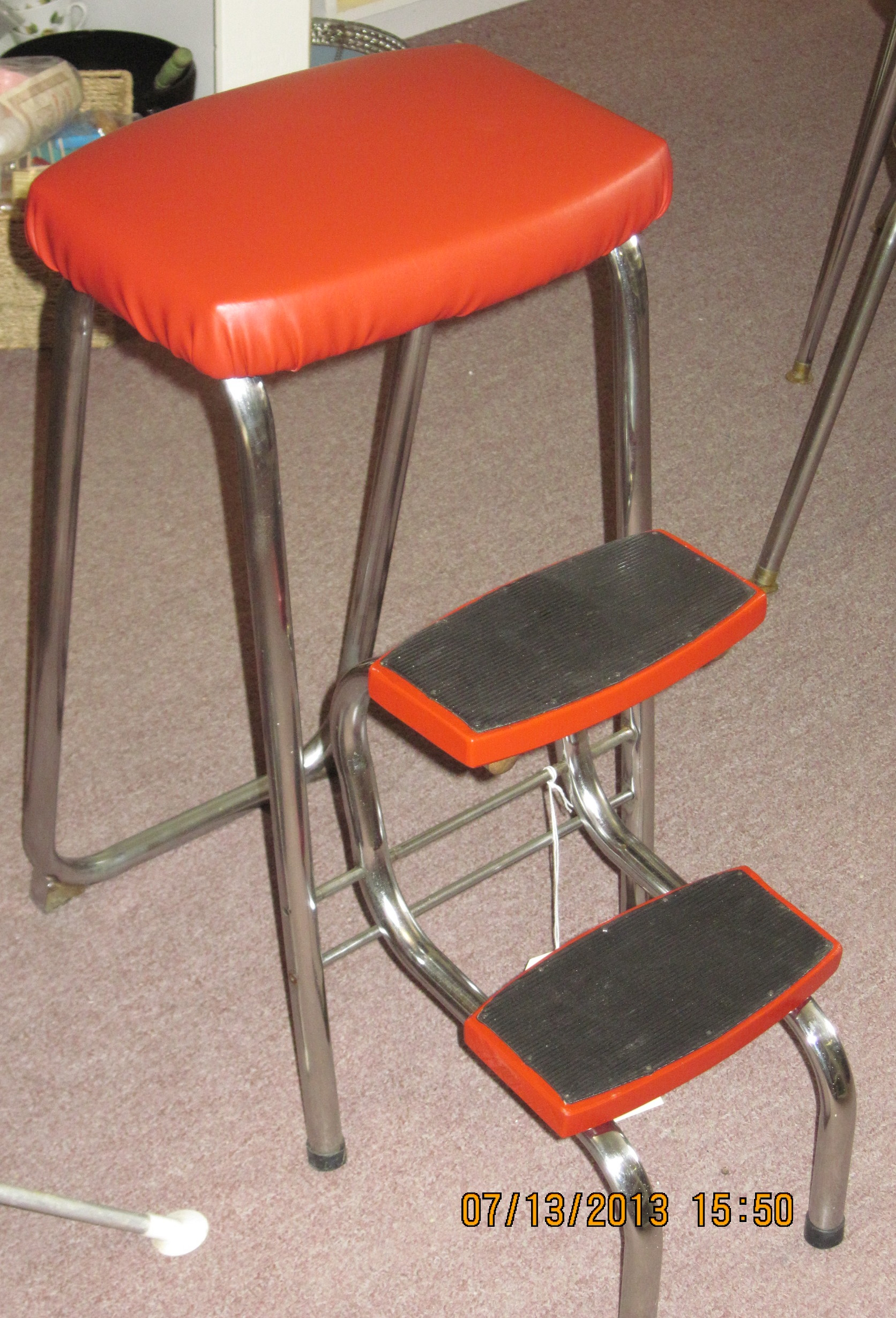 retro chair step stool covers for sale in sri lanka chrome with red vinyl upholstery