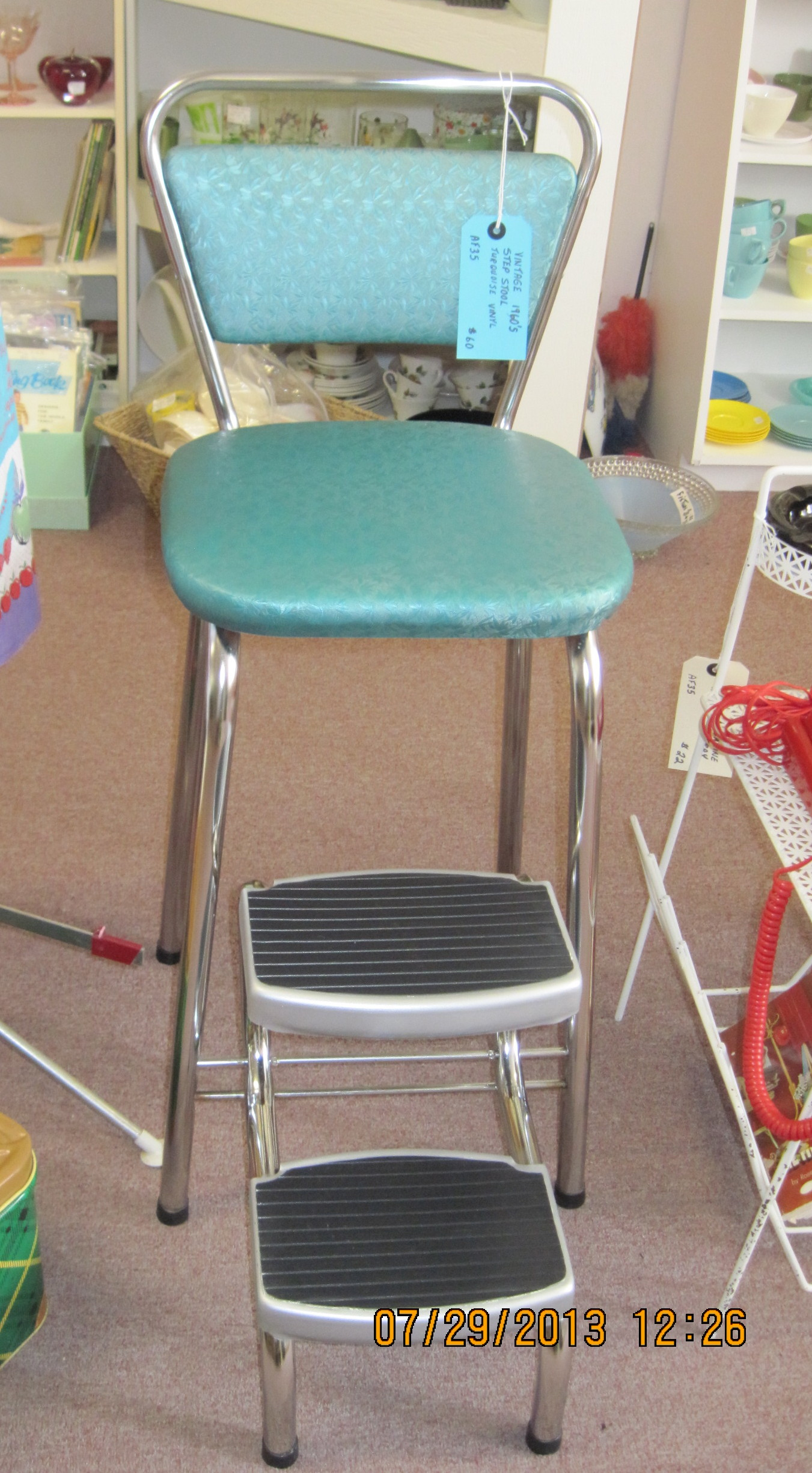folding kitchen step stool red backsplash | fabfindsblog