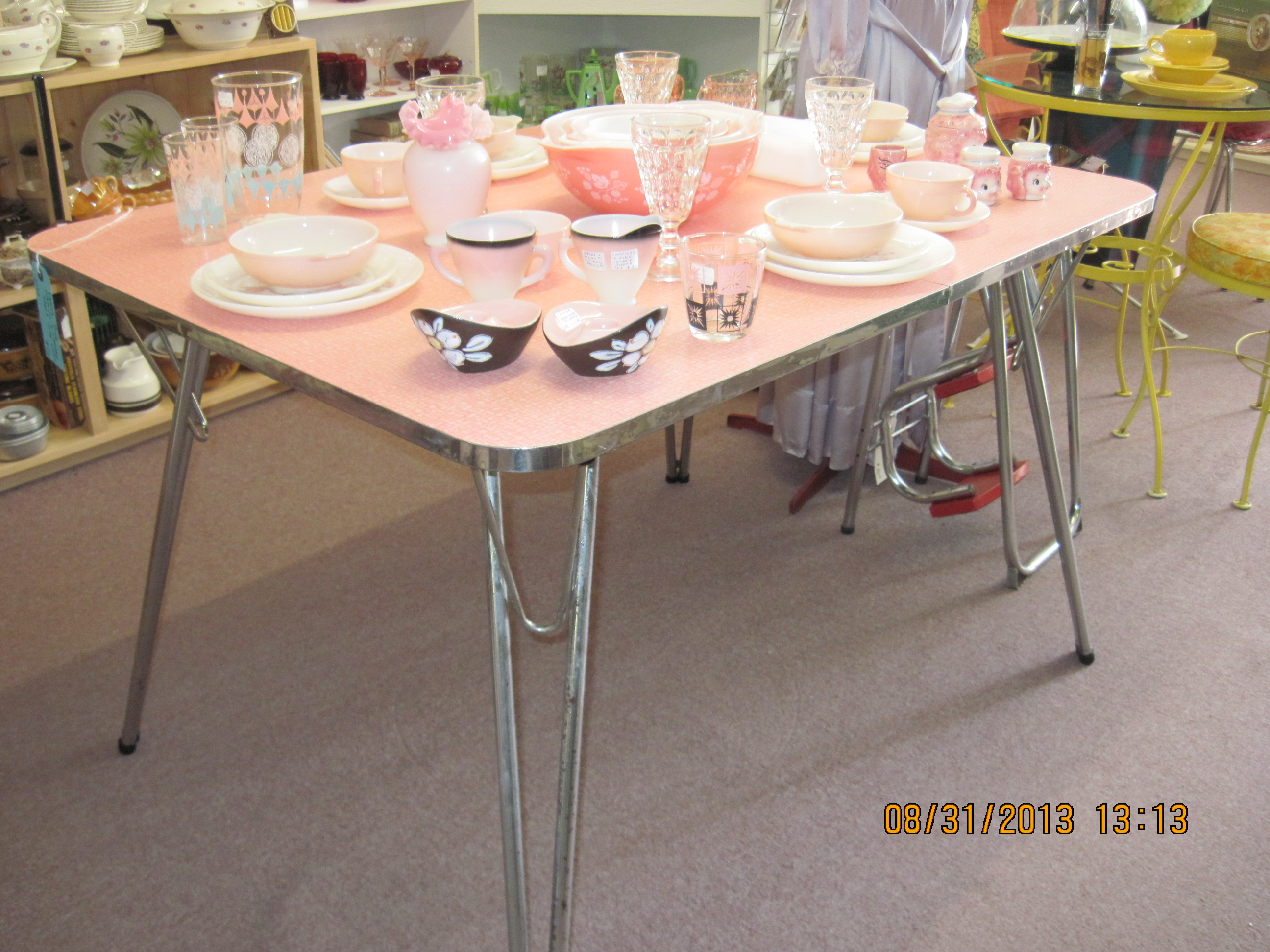 1950 s yellow formica table and chairs posture seat for car pink chrome ca 1950s fabfindsblog