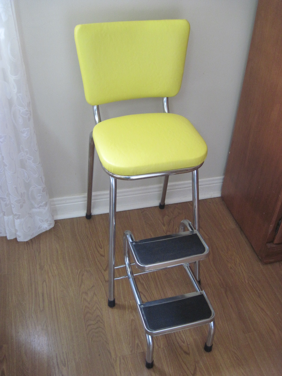 chrome kitchen chairs booster seat vintage yellow step stool by cesare furniture