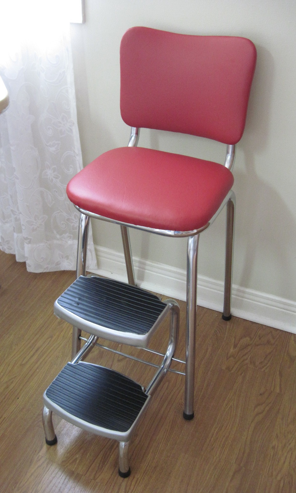 retro chair stool wheelchair for hire vintage red vinyl mid century chrome step fabfindsblog