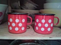 Polka Dotted Enamel Mugs