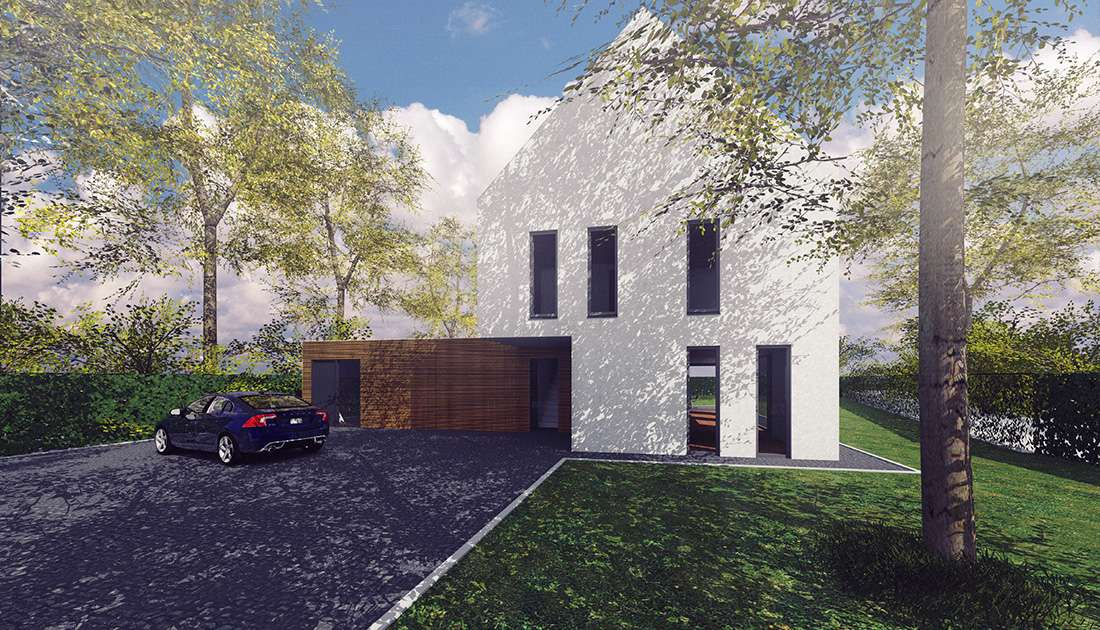 voorzijde van moderne villa