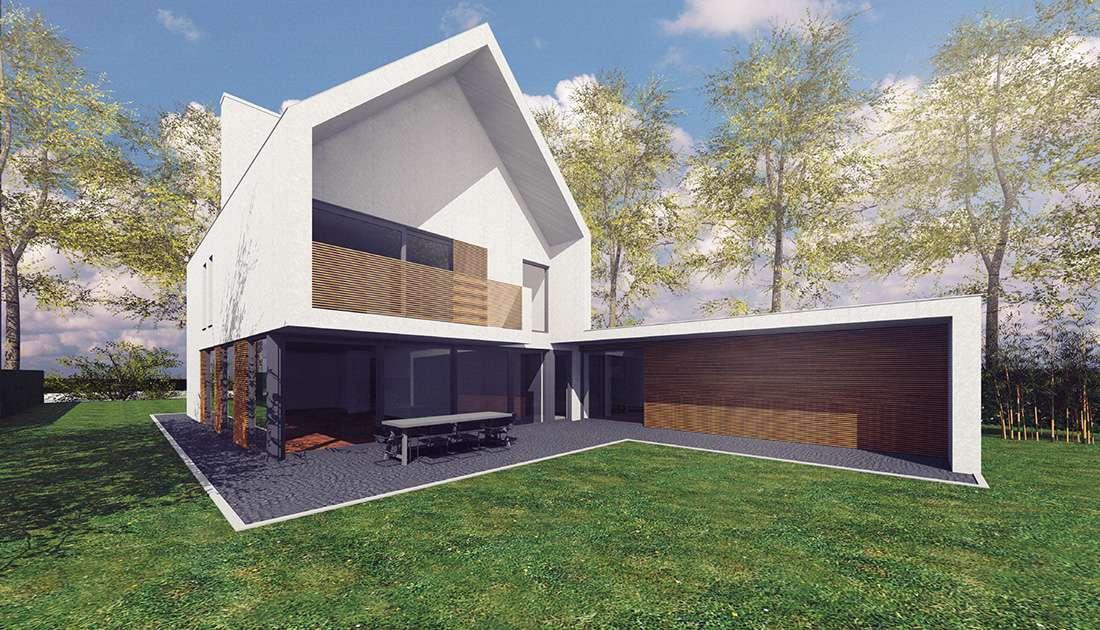 achterzijde van moderne villa