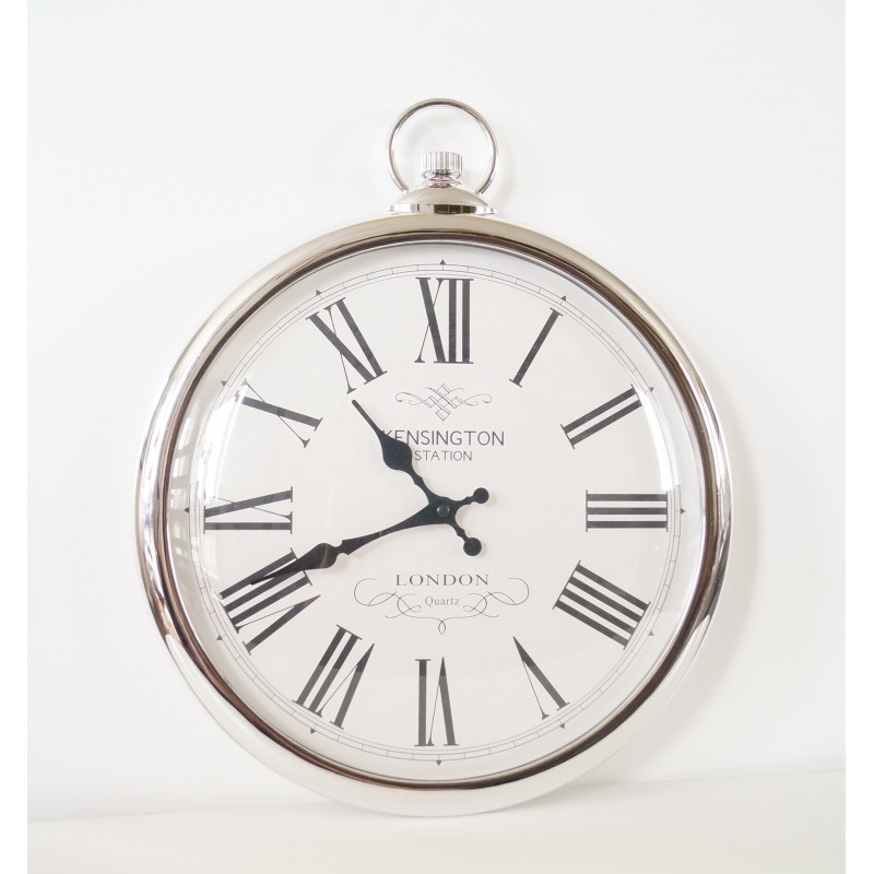 Large Silver Pocket Style Wall Clock