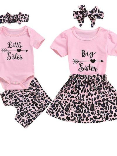Pink Leopard Print Matching Dress Romper