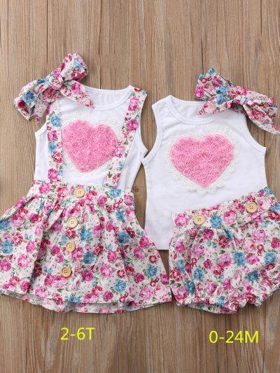 Sleeveless Pink Heart Floral Skirts Valentine Set