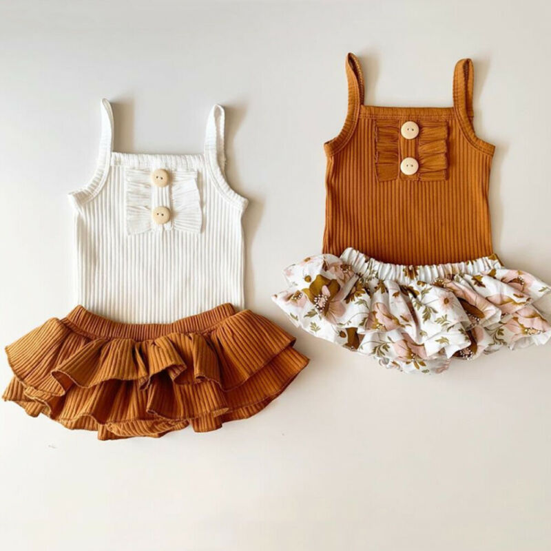 White n Brown Sleeveless Sling Floral Sister Match Outfits