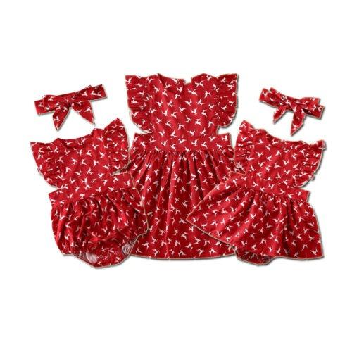 Christmas Red Deer Print Siblings Romper & Dress