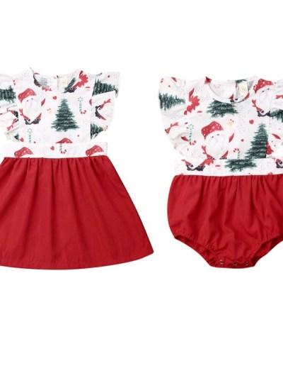 Xmas Tree Print Family look Dress