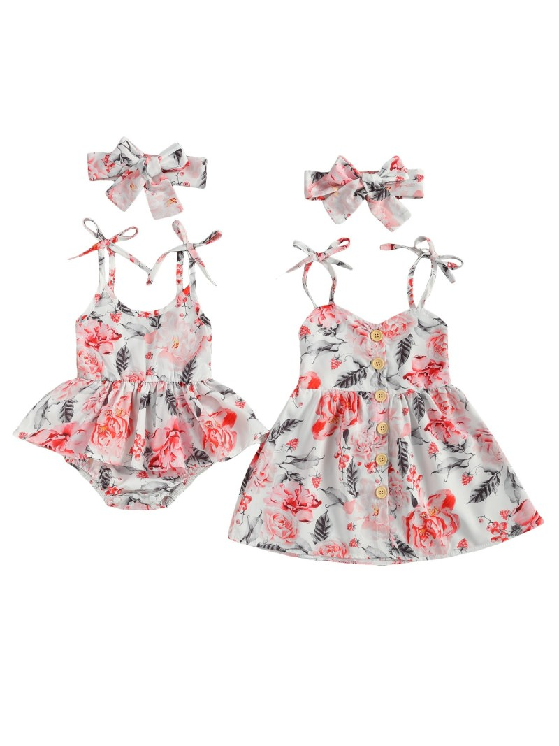 Floral Strapped dress for big and small sister
