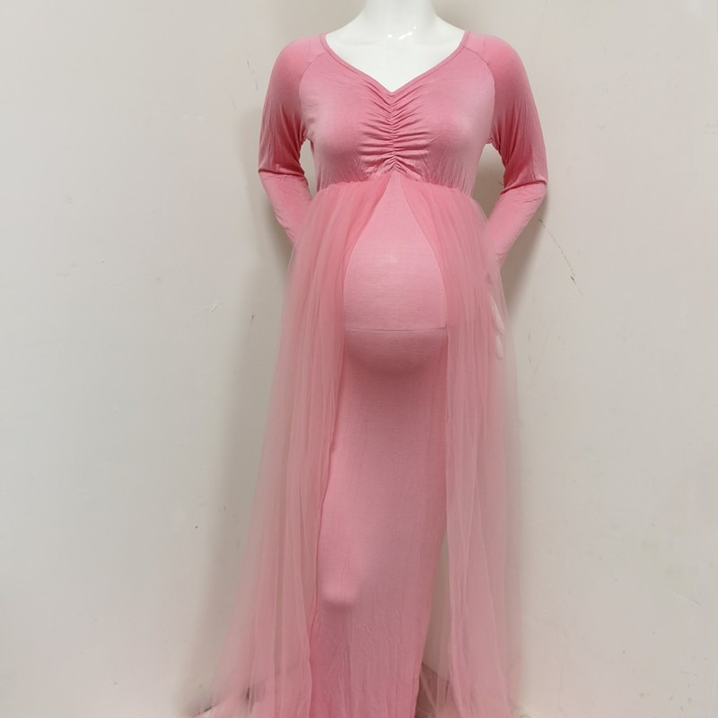 Cape Long Tail Stretchy Pink Dress for Baby Shower
