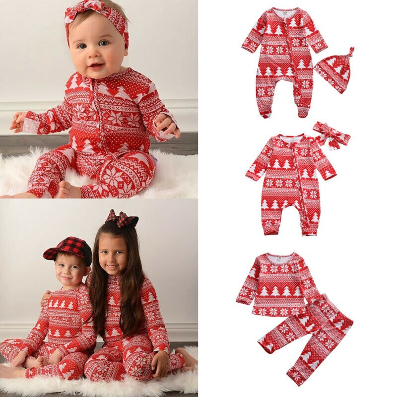 Traditional Christmas Matching Sleepwear for Siblings