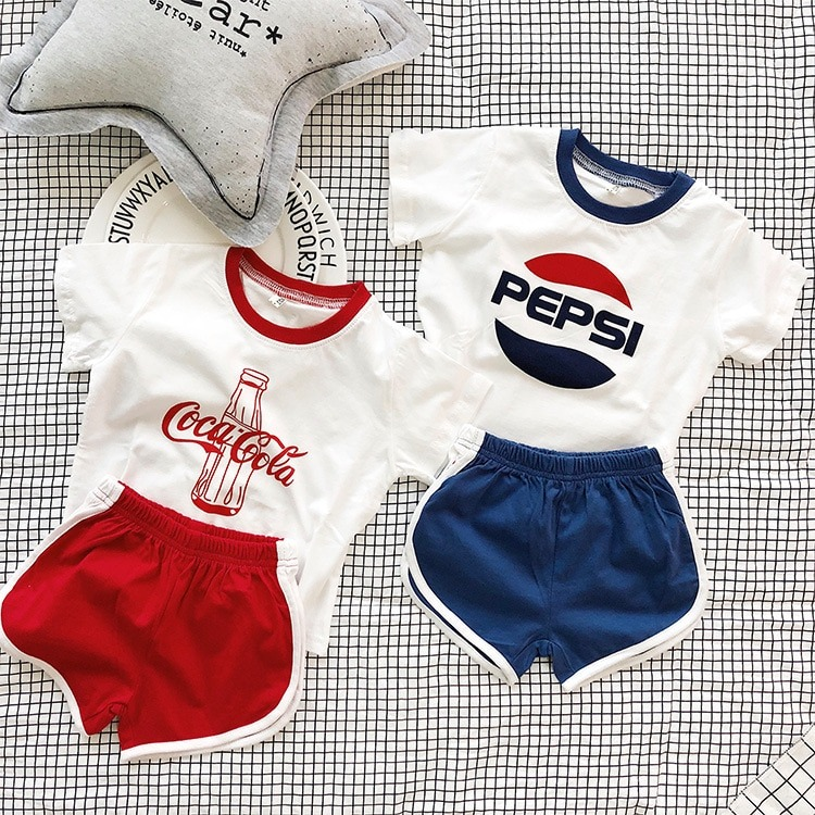 Pepsi Cola Print Matching Outfits for Twins Siblings