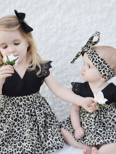 Black Leopard Print Chiffon Dress Baby Girls