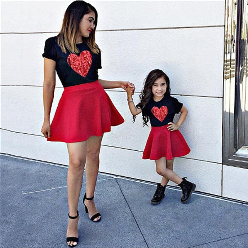 Red Sequins Heart Matching Short Dress with Lil Valentine