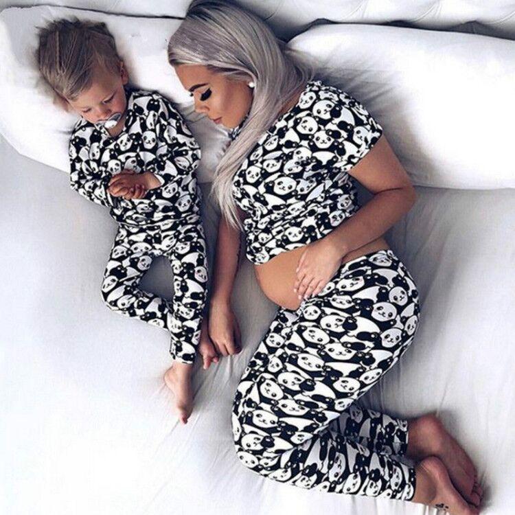 Panda Print Black White Mother Daughter PJ Set