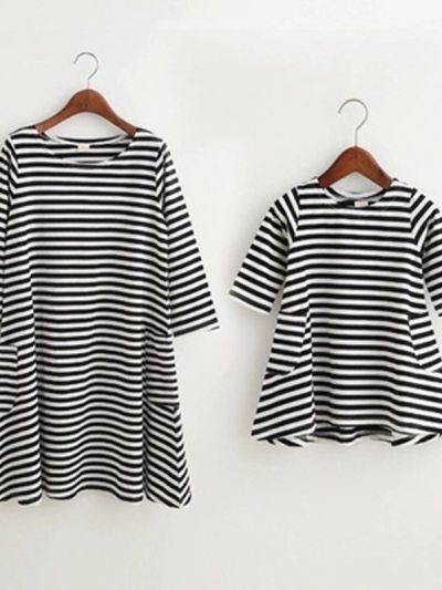 Family Look Black White Striped Summer Dress
