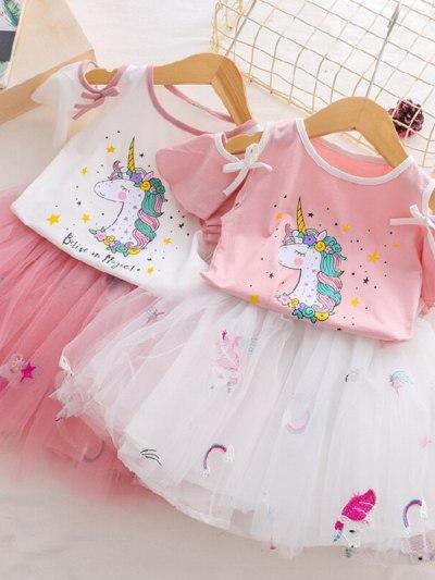 Fancy Sleeves Unicorn Print Pink Tutu Dress