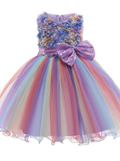 Girls Flower Party Dress with Beautiful Lace