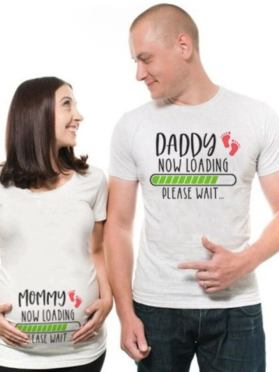 Mommy Daddy Loading Pregnancy Announcement Tees