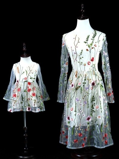 Flower Embroidered Matching Net Party Wear Dress