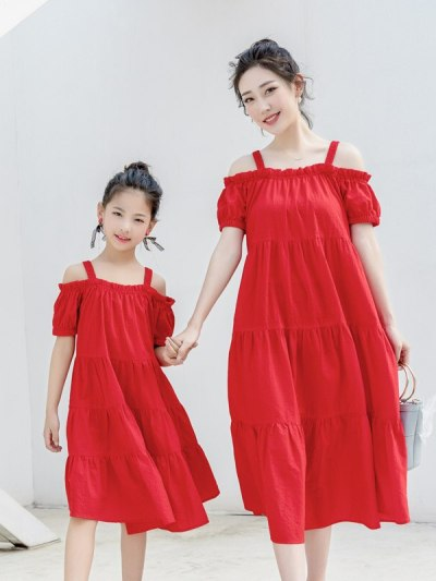 Mom Kids Tomato Red Casual Beach Dress for Summers