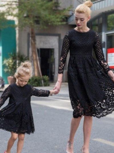 Black Mother and Daughter Vintage Lace Dresses