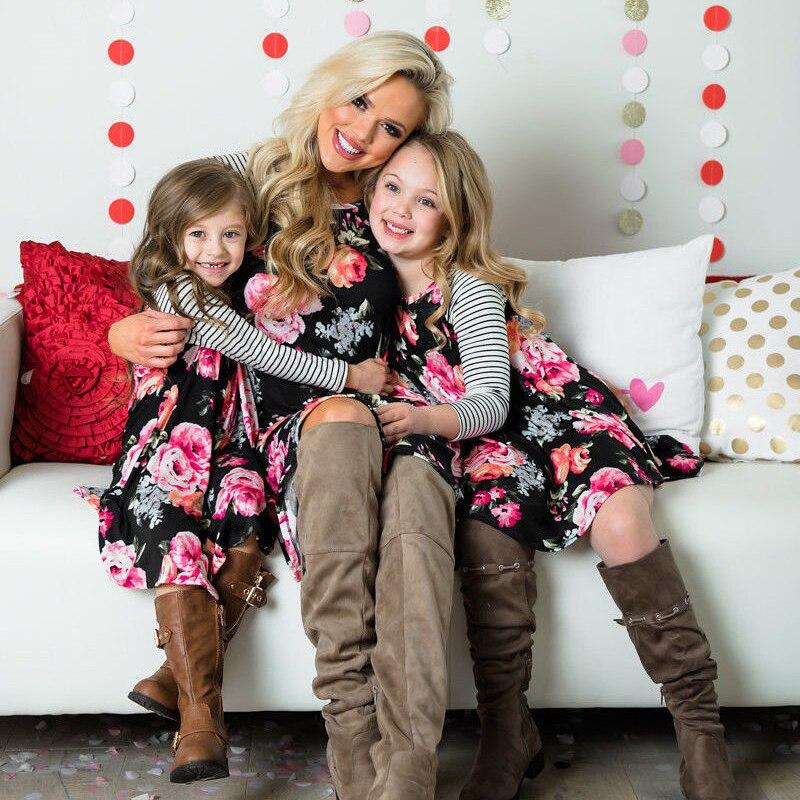 Black Floral Matching Mum Kid Girls Short Outfits
