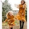 Golden Mom And Me Long Sleeve Velvet Matching Dress