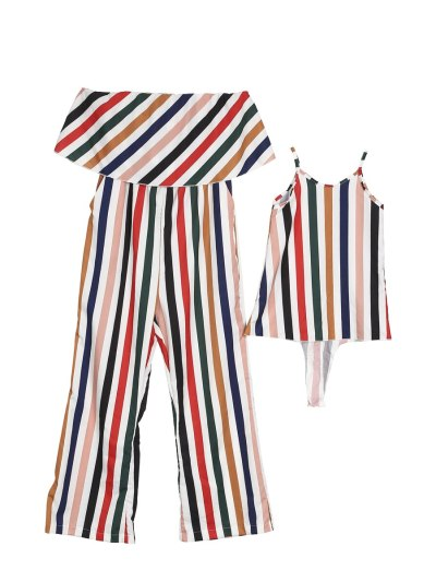 Mother Daughter Striped Bodysuits Matching Outfit