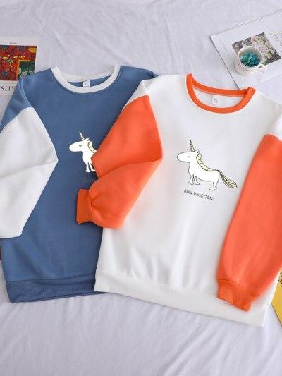 Unicorn Print Orange Winter Fleece Hoodie For Girls