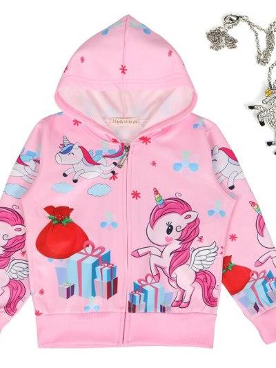 Pink Unicorn Theme Zipper Jacket with Pendant
