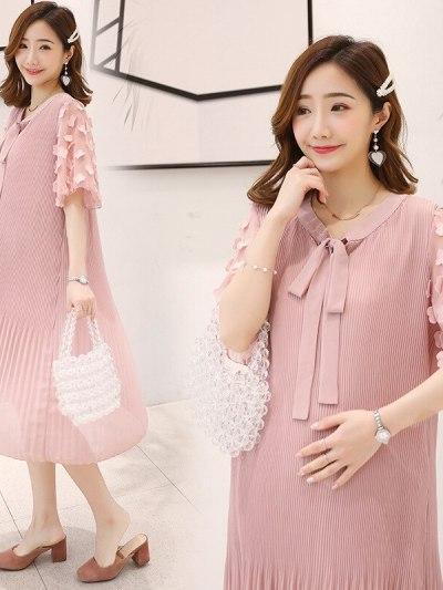 Stylish Pleated Pink Maternity Dress