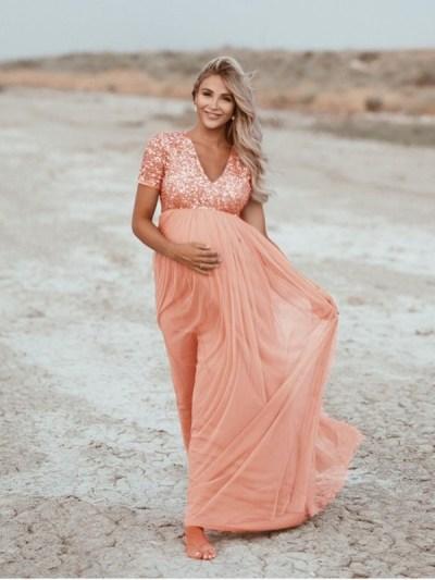 Sequins Top Elegant Tulle Baby Shower Dress