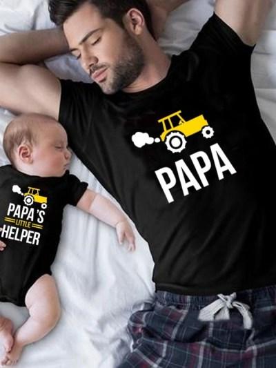 Papa's Best Little Helper Father Son Matching T-Shirt