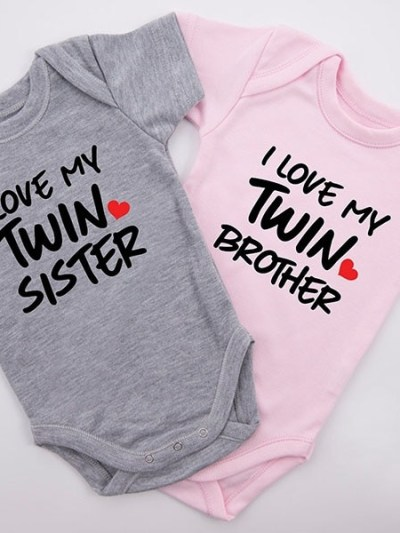 I Love My Twin Sister/Brother Romper for Twins