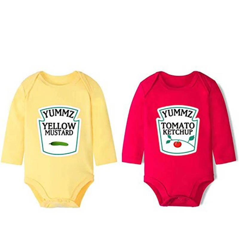 Mustard and Tomato Ketchup style Baby Rompers for Twins