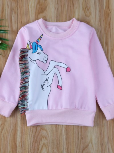 Rainbow Fur Unicorn Pullover Toddler Girls