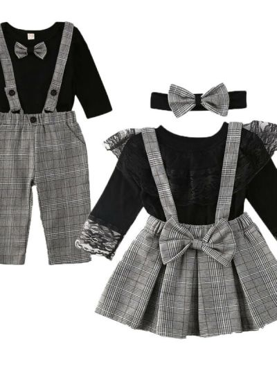 Black striped matching party dress for siblings