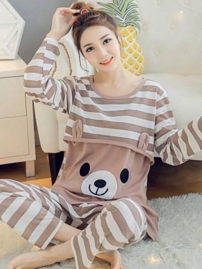 Cotton Striped Cartoon Bear Print Maternity Nursing Pajamas