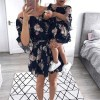 Off Shoulder Floral Summer Boho Mini Sundress