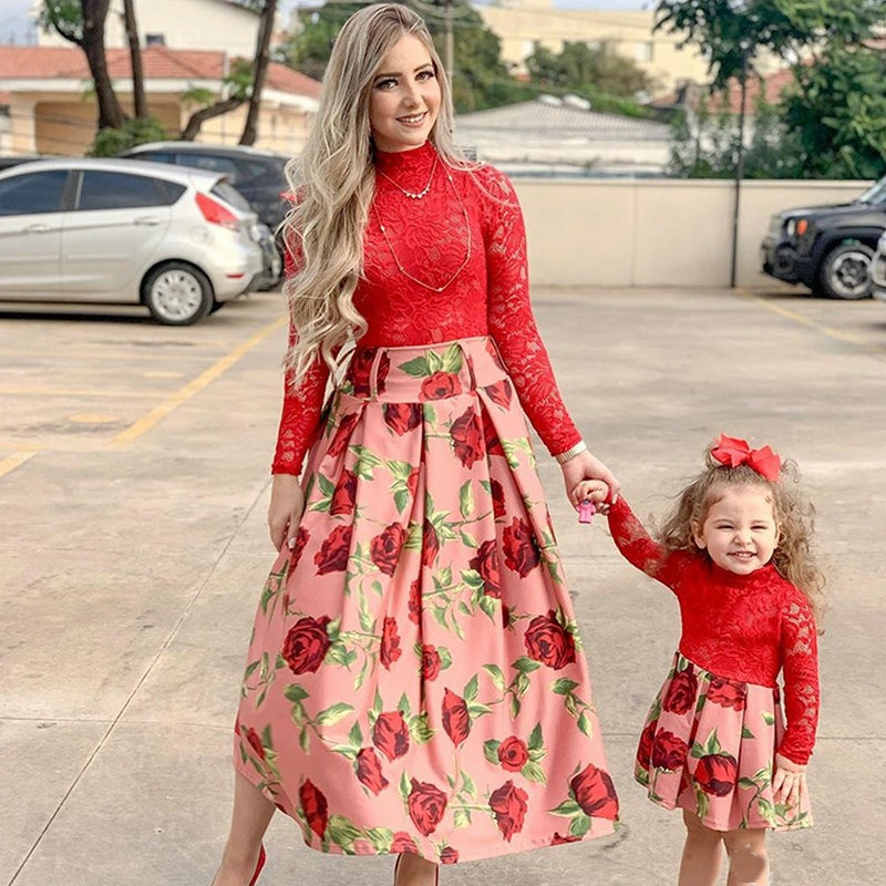 Stunningly Beautiful Red Mesh Dress For Mommy Me Looks