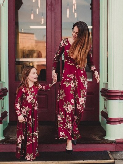 Floral Red Family Dress Baby And Mama Outfits