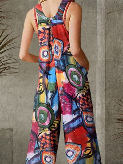 Digital Multi Color Printed Open Back Jumpsuit
