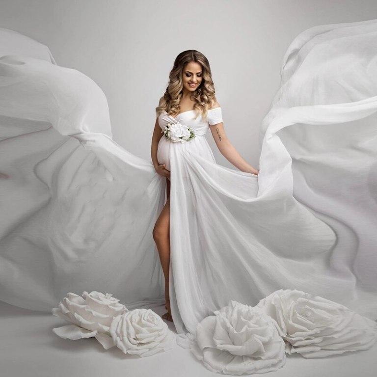 White Chiffon Stretch Dress for Maternity PhotoShoot