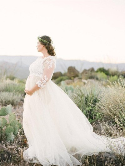 Crochet Lace Pregnancy Photography Long Dress